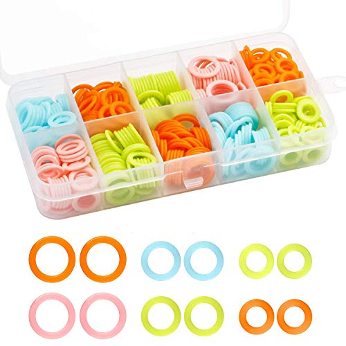 WEE 120 Pieces Colored Knit Knitting Stitch Markers Rings with Storage Box (Multiple-Size)
