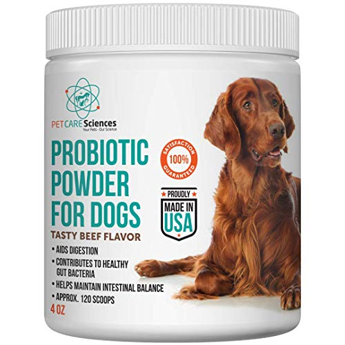 PET CARE Sciences Probiotic Powder for Dogs, 5 Billion CFU, Support Digestion with Added Multi Benefit, Easy to Feed Tasty Beef Flavor, 120 Servings, Proudly Made in The USA