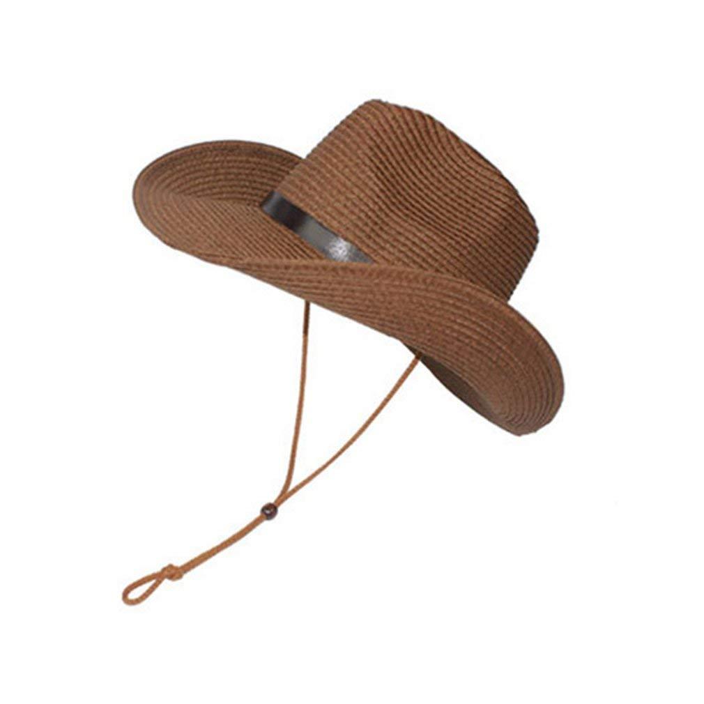 GreatWall Cr/ème Solaire Chapeau de Cowboy en Plein air Parasol ext/érieur Enfants Adultes Chapeau de Paille caf/é