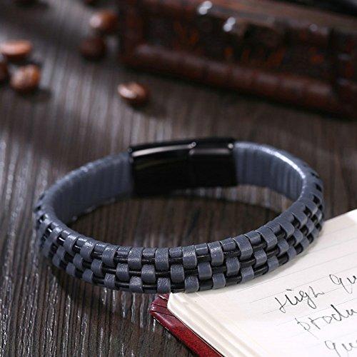 03e527319c1f AMDXD Joyería Pulsera de Cuero para Hombre Bicolor Cuerda Cuadrícula Diseño 20  CM Hombres Negro Pulsera