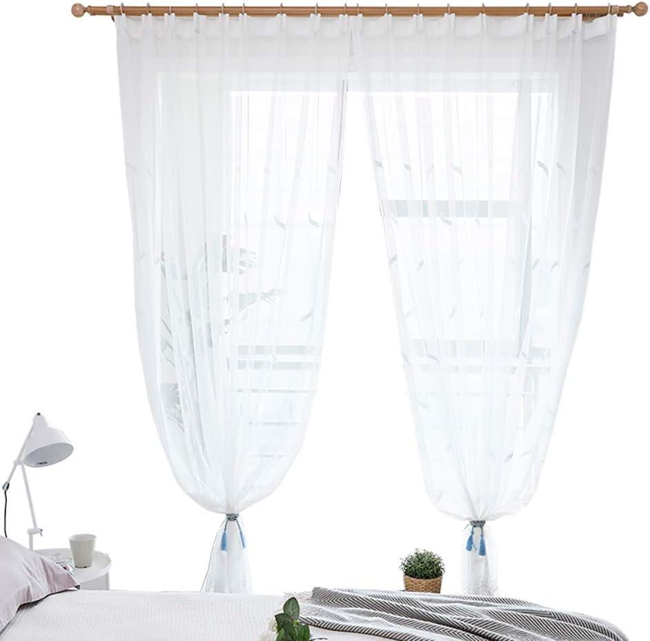 JIAOXM Cortinas Transparentes Blancas, diseño de Bordado, Cortina de Lino de algodón, Gasa Blanca, para/Dormitorio/Sala de Estar/balcón/ventanal / 1 Piezas,A,100×270cm(39×106inch): Amazon.es: Hogar