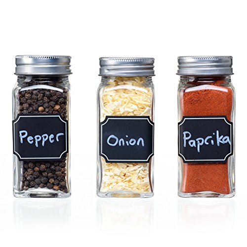 Set of 12 Square Glass Spice Jars with Shaker Tops, Chalkboard Labels & Pen, and Airtight Silver Metal Lids, Reusable Spice Containers w/4 Ounce Capacity for Organic Spices and ()