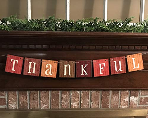 Thankful Fall Autumn Farmhouse Farm House Barn Siding Chip Board Cards Colorful Fall Colors Sign Bunting Garland Banner Thanksgiving Give Thanks - Fall Decorative Banner