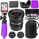 Canon EF-S 10–22mm f/3.5–4.5 USM Lens Bundle with SanDisk 32GB Memory Card, LP-E10 Replacement Battery, Flexible Gorillapod & 3 Piece Filter Kit for Canon EOS Rebel T5, T6 Digital SLR Cameras