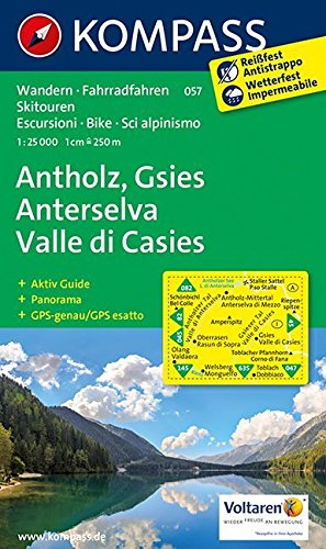 Antholz - Gsies - Anterselva - Valle di Casies: Wanderkarte mit Aktiv Guide, Panorama, Radwegen und alpinen Skirouten. GPS-genau. 1:25000 (KOMPASS-Wanderkarten, Band 57)