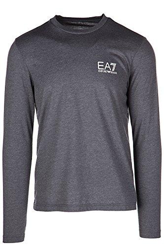 Emporio Armani EA7 Herren T-Shirt Langarm Langarmshirt runder Kragen Grau