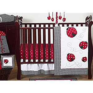 Sweet Jojo Designs 11-Piece Red and White Polka Dot Ladybug Baby Girl Bedding Crib Set Without Bumper