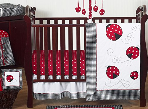 Sweet Jojo Designs 11-Piece Red and White Polka Dot Ladybug Baby Girl Bedding Crib Set Without Bumper ()