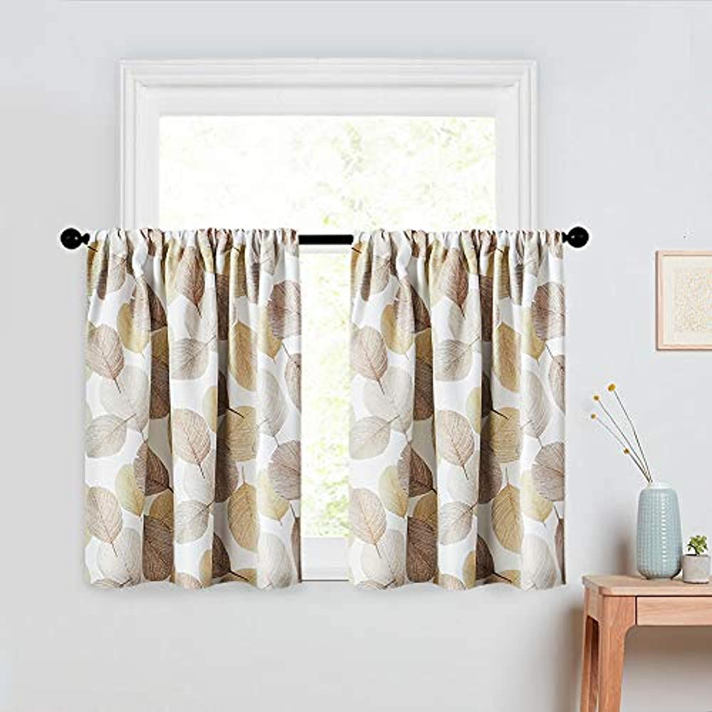 Room Darkening Curtains 45 Inches Long Leaves Printed Kitchen Tiers Short Panels Ebay