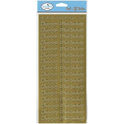 - Elizabeth Craft Designs Happy Birthday Peel-Off Stickers, Large, Gold