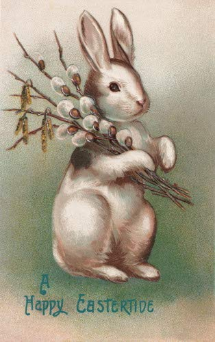 Vintage Easter Art~Cute Silver/Brown Easter Bunny Holding Pussy Willows~6 pack NEW Matte Vintage Picture Large Blank Note Cards with Envelopes