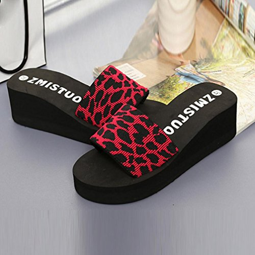 Platform Shoes Women Red Summer Thick Flops Wedge FreshZone Beach Slippers Shoes Slope Slippers Bath Bottom ECtqdxxAw