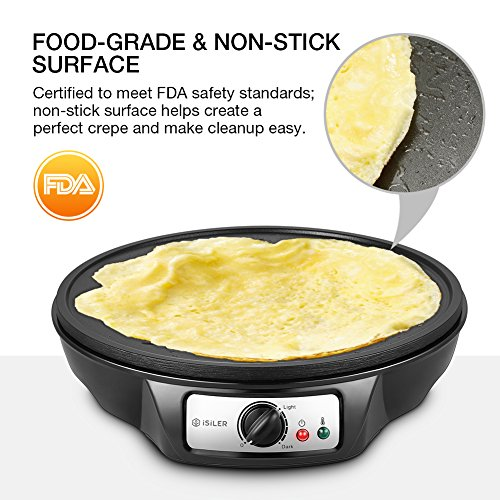 Electric Crepe Maker, iSiLER 1080W Electric Pancakes Maker Griddle, 12'' Electric Nonstick Crepe Pan with Batter Spreader & Wooden Spatula, Precise Temperature Control for Roti, Tortilla, Eggs, BBQ by ISILER (Image #2)