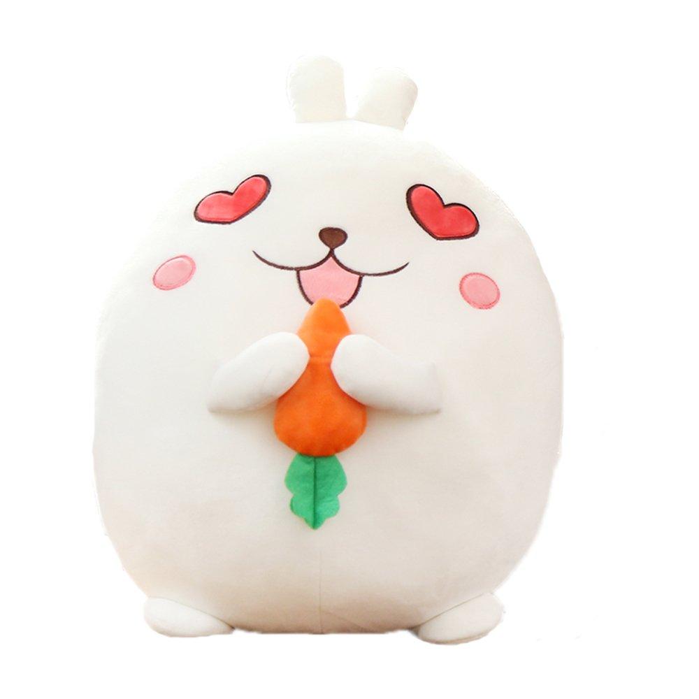 Ins Lovely Cartoon Cute White Rabbit Stuffed Animals 3D Pom Plush Lumbar Soft Big Hugging Figure Bolster Bed Cushion Nursery Home Office Decoration Baby Play Toy Sleeping Neck Throw Pillow Gift