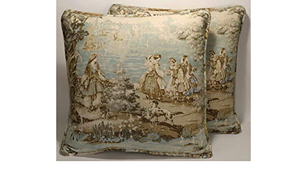 A set of 2 22 French Country Bosporus Flax Seafoam Green Tan Toile Pattern Handmade Decorative Throw Pillows Covers