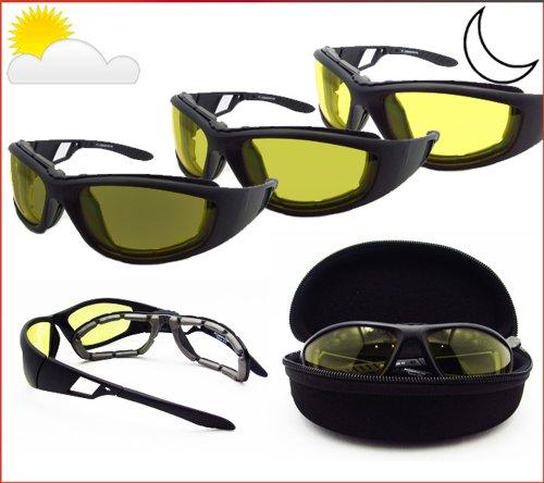 Light Adjusting Motorcycle Sunglasses Foam Padded for Men & Women. Photochromic Lenses and Removable Foam Cushion. Free Hard Case. Renegade/TR/YE/HC