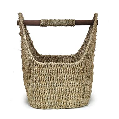 The Lucky Clover Trading Seagrass Decorative Basket with Wood Handle