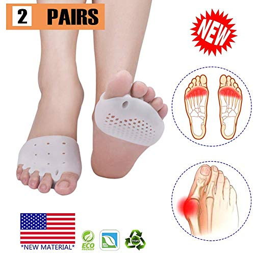 Metatarsal Pads, Toe Separator, Gel Metatarsal Cushion Toe Separators, (4 PCS White),New Material, Forefoot Pads, Toe Spacers,Breathable & Soft Gel, Best for Diabetic Feet, Blisters, Forefoot Pain.