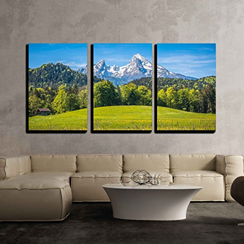 wall26 -Fresh Green Meadows in Alps - Canvas Art Wall Decor - 24