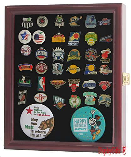 (Lockable, Pin/Medal Display Case Shadow Box, Glass Door, Cherry Finish (PC02-CH))
