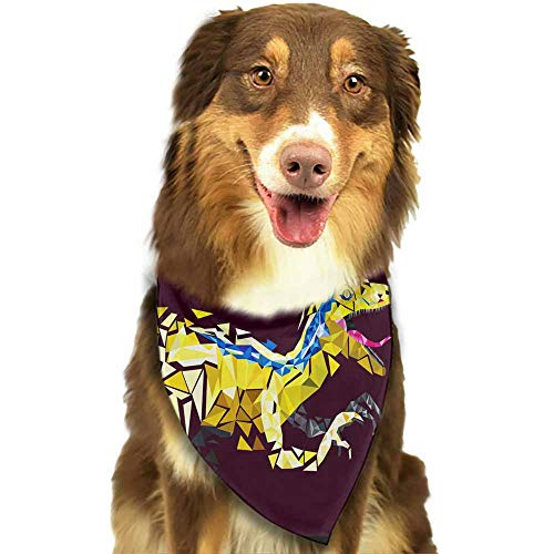 (Custom Made Plaid Dog Bandana,Cotton Bandanas Handkerchiefs Scarfs Triangle Bibs Accessories-Dinosaur Vecror Art New Wallpaper Polygon Vector Pattern Printing Colorful)