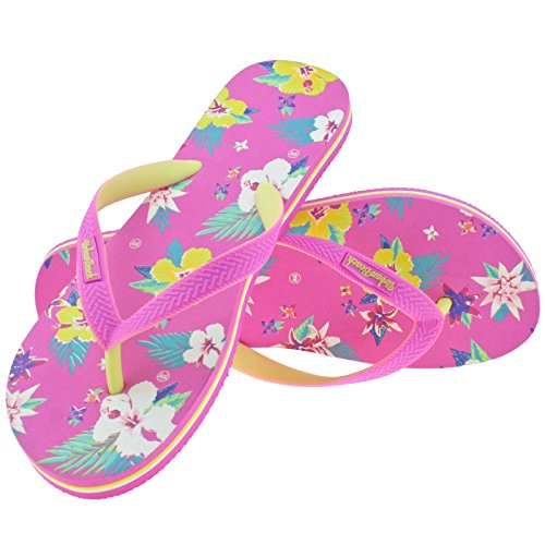 LADIES URBAN BEACH BAYFRONT BEACH PINK FLORAL FLIP FLOPS TOE POST SANDALS -UK 8 (EU 42)