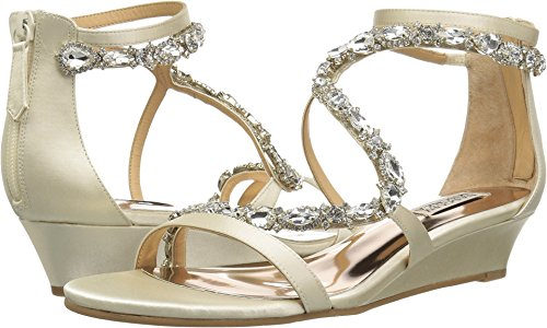 Badgley Mischka Women's Sierra Wedge Sandal, Ivory, 7.5 M US