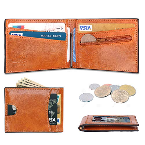YUTING Slim Wallet Money Clip Leather Wallets for Men, Minimalist Front Pocket Bifold Leather Wallet with Coin Pocket and RFID Blocking Card Holder Gift Box (California Desert)