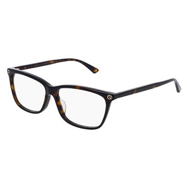 e1feac98c98 Amazon.com  Gucci GG0042OA Eyeglasses 002 Havana-Havana   Clear Lens ...