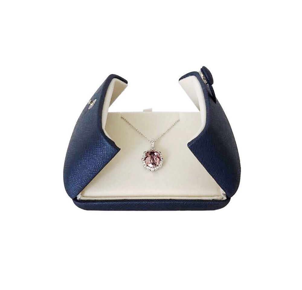 Svea Display Double Function Navy Blue PU leather Pendant Earrings Necklace Gift Box Double Layer Fine Material Modern Elegant (Pendant Necklace) by Svea Display (Image #6)