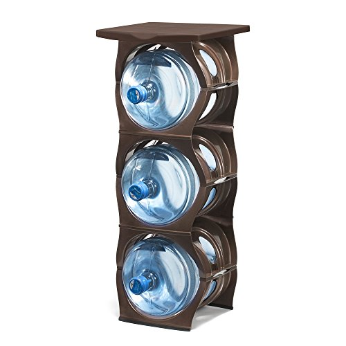 U-STACK Water Bottle Storage Rack - Holds Three 5 Gallon Bottles for Water Coolers (3 Bottle with Shelf) (Brown) by U STACK