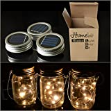 Homeleo Creative LED Mason Jar Lights * Each light has LED light string with warm white LEDs,  * Solar Powered, require no electricity, just simple sunlight to charge. Each solar mason jar includes a water-resistant solar cell, a rechargeable...