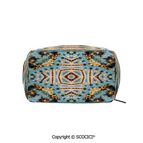 Rectangle Beauty Girl And Women Cosmetic Bags Close Hippie Motif with Maya Clan Figures Dirt Tones Counter Culture Print Printed Storage Bags for Girls Travel ()