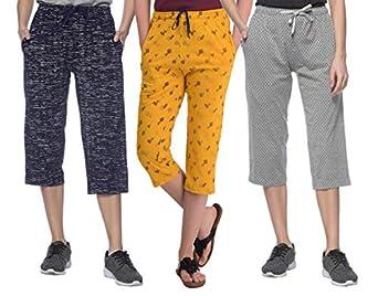 SHAUN Women's Slim Fit Capri (Pack of 3)