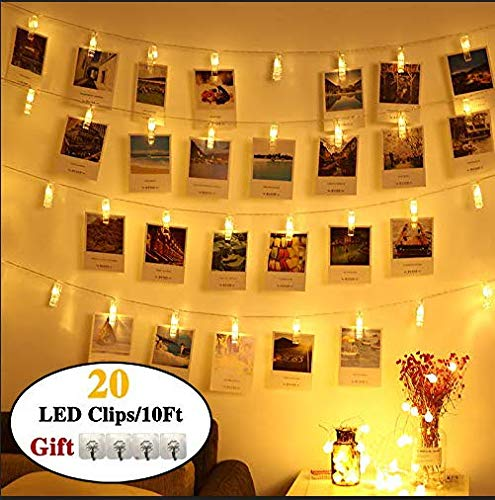ZITION 20 LED Photo Clip String Lights, Battery Powered, Fairy String Lights for Indoor/Outdoor Decorate,String Lights with Photo Clips for Hanging Pictures,Notes,Cards and Artwork(10 Ft,Warm White)
