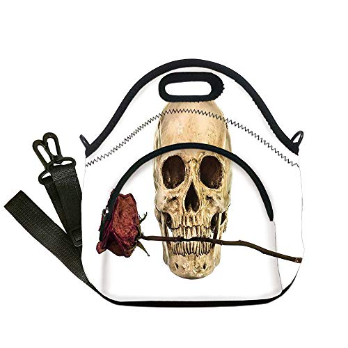 (Insulated Lunch Bag,Neoprene Lunch Tote Bags,Gothic Decor,Skull with Dry Red Rose in Teeth Anatomy Death Eye Socket Jawbone Halloween Art Decorative,for Adults and)