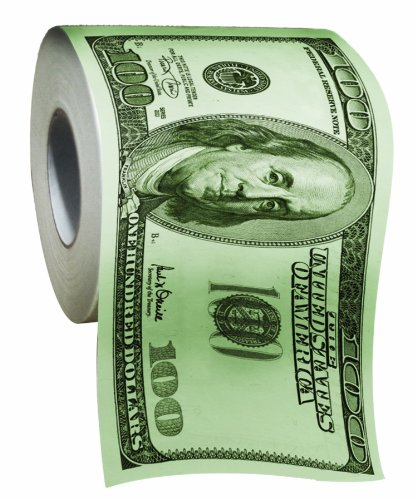 BigMouth Inc 100 Dollar Money Funny Toilet Paper, Novelty Printed Toilet Tissue, 1 Roll