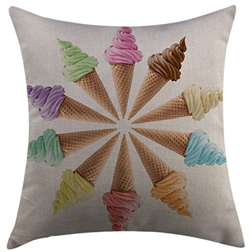 - Mugod Throw Pillow Cover Ice Cream Cones with Various Flavors Forming a Stylish Row Summer Season Picture Multicolor Home Decorative Cushion Cover 16x16 Inch Pillowcase