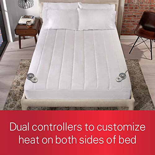 Sunbeam Heated Mattress Pad | Quilted Polyester, 10 Heat Settings, Queen