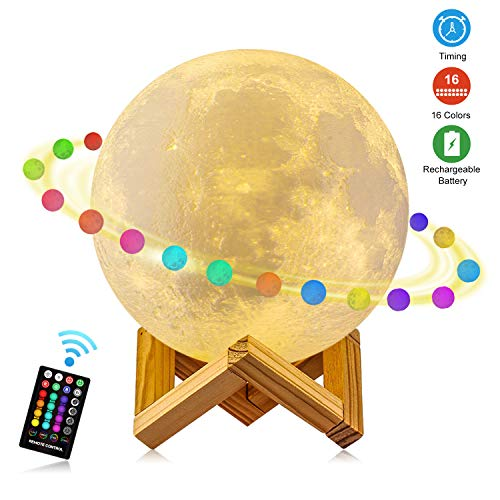 Moon Lamp, GDPETS 3D Printing Moon Night Light with Stand, Touch& Remote Control 3D Moon Lamp 16 Color Decorative Moon Light for Baby Kids Friend Birthday Party Christmas Gifts (5.9 inch)