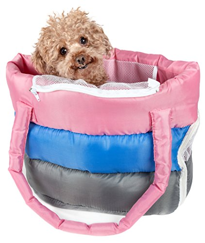 - PET LIFE 'Bubble-Poly' Tri-Colored Winter Insulated Fashion Designer Pet Dog Carrier, One Size, Pink, Blue, Grey