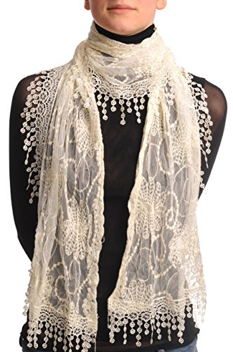 Cream Vintage Lace With Flowers - Beige Designer Scarf
