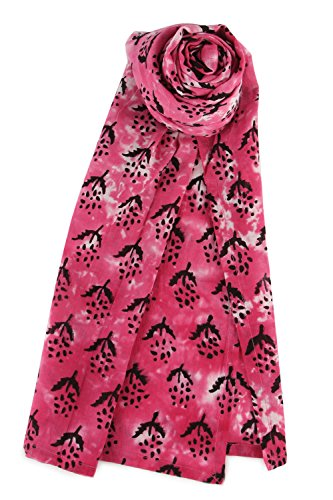 Lightweight Soft Voile Cotton Tie Dye Hand Block Print Hippie Head Scarf 55 X 180 cm Pink - Linen Cotton Prints Scarf