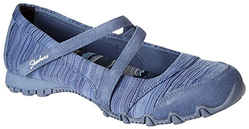 Jane Lady Shoes Adult (Skechers Women's Bikers-Ripples Mary Jane Flat, Blue Knit, 9 M)