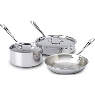 All-Clad 401599 Stainless Steel Tri-Ply Bonded Dishwasher Safe Cookware Set, 5-Piece, Silver