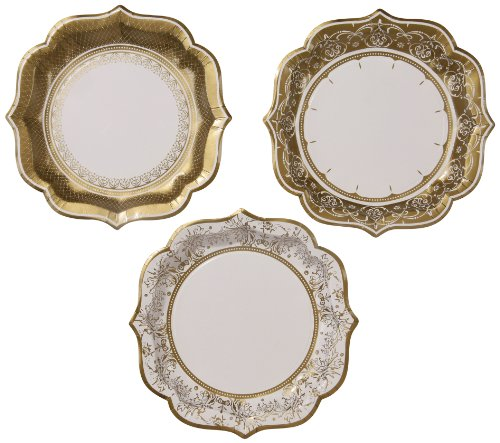 Talking Tables Gold Party Large Gold Party Plates for a Wedding or as Party Decorations, Gold (12 Pack)