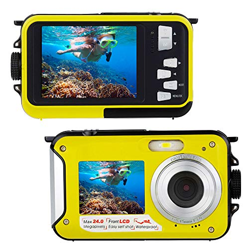 Underwater Camera 24.0MP Waterproof Digital Camera Full HD 1080P Waterproof Camera Selfie Dual Screen Video Recorder Point and Shoot Digital Camera