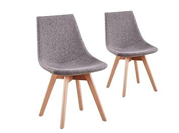 UsineStreet Lot de 2 chaises scandinaves LOA tissu avec pieds bois
