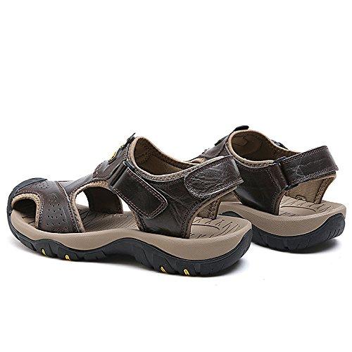 Suela de Color Khaki Playa EU Zapatos Size Zapatos Antideslizante Superior los Sandalias Juans Ocasionales Cuero 40 Hombre shoes para Hombres Genuino de Suela Transpirable de Black 1nXYAARqax