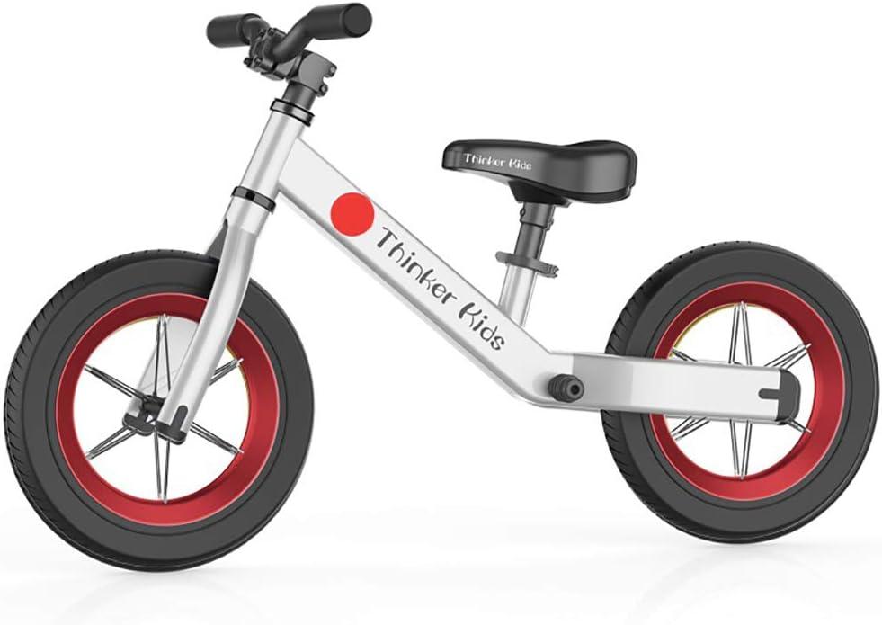 ANYWN Niños Bicicleta de Equilibrio de Bicicletas Bike Training niños sin Pedal Ligero Estructura del Asiento Ajustable con neumáticos de Aire Kids First Edad de Bicicletas 1,5 a 6 años,Blanco